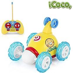 ICOCO Coches De Control Remoto Stunt Rotación, 2 Canales 49MHZ Coche Teledirigido Juguetes con Luces y Música , Amarillo