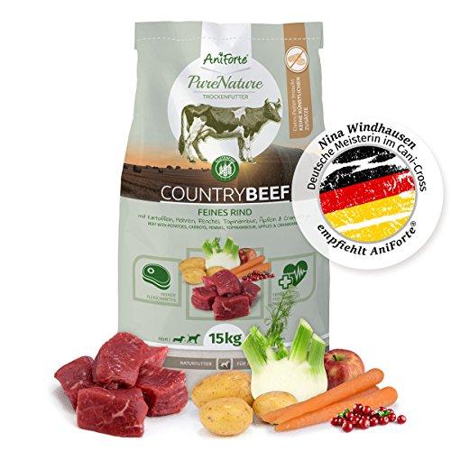 AniForte Natürliches Hunde-Futter Trockenfutter Country-Beef 15kg, Saftiges Feines Rind-Fleisch, 100% Natur Allergiker, Getreide-Frei, Glutenfrei, mit Kartoffeln, Ohne Chemie und künstliche Vitamine