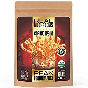 Real Mushrooms Cordyceps Mushroom Extract Powder - Organic 60g Bulk Powder - Perfomance - Recovery - All-Day Energy - Perfect For Shakes, Smoothies, Coffee And Tea