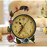QFQ Landhausstil Uhr/Schmiedeeisen American Counter Kreative stumm Uhr Rund Um die Uhr Gehen