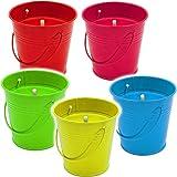 Unbekannt 5 Stück _ große XL - Citronella Kerzen im Metall Eimer -  Anti - Mücken _ Aroma Duftkerze - Zitronen Duft - FARB-Mix  - 11 cm hoch - Topf - Bodenkerze - Tis..