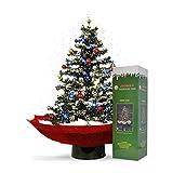 mikamax - Schneiender Weihnachtsbaum - LED - Rot - Christbaum - Mit Beleuchting und Weihnachtsliedern - Schneefall - Weihnachtsdeko - 75 cm