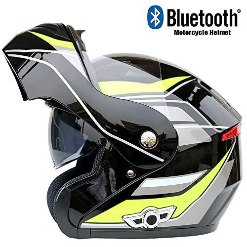 CAKUI K8 New Motorrad Bluetooth Helm, Doppel-Objektiv Frontklappe Anti-Fog-Multifunktionshelm, Voice-Navigation mit FM und verstecktem Mikrofon, DOT Certified Helm,L59~60cm