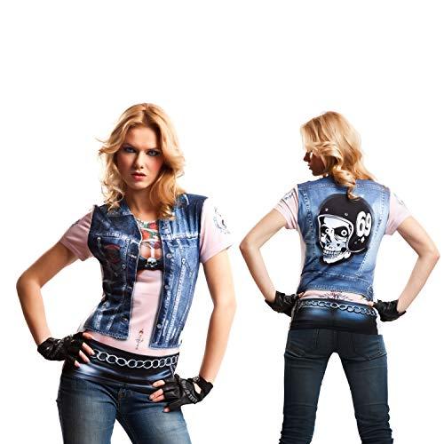 viving Kostüme viving costumes231120Motor Biker Girl Short Sleeve T-Shirt (mittel) (Biker Girl Halloween Kostüm)