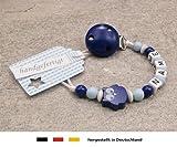 Baby SCHNULLERKETTE mit NAMEN | Schnullerhalter mit Wunschnamen - Jungen Motiv Eule in dunkelblau babyblau…