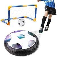 Amzdeal Air Fußball Set inkl.1 x luftkissen Fußball + Mini Fußball + Fußballtor + Ball Pumpe LED Beleuchtung Air Power Fußball Hover Ball Set