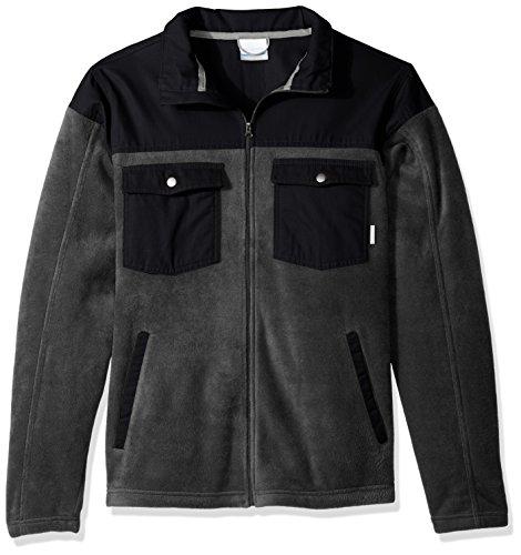 Columbia Men's Big and Tall Cascades Explorer Full Zip Fleece Jacket, Charcoal Heather, Black, 5X (Mens Explorer Jacket)