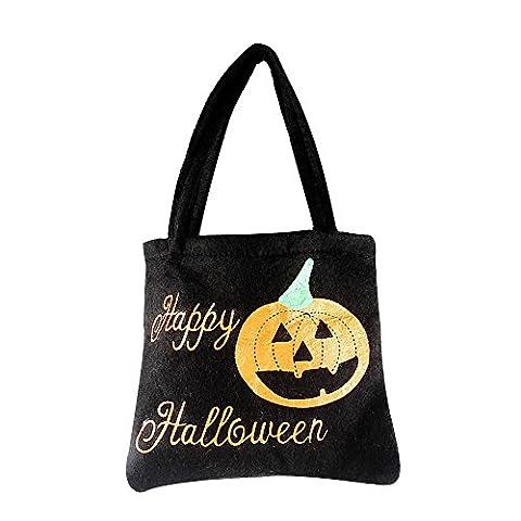 Sac de Bonbons Halloween Citrouille Sorcière Coloré Cadeau, QinMM Enfants Sac de Rangement Sac à Main (A, Noir)