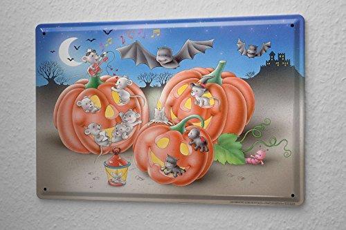 Cartello targa in metallo cartoon arte divertimento halloween topi zucca pipistrello piastra insegna metallica 20x30 cm