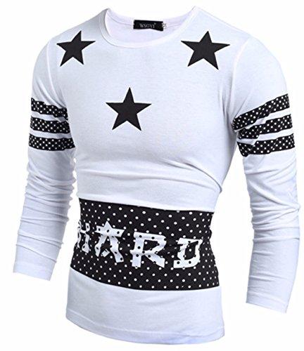 Homme mode étoiles Noir Blanc Décontracté Sweat-shirt white