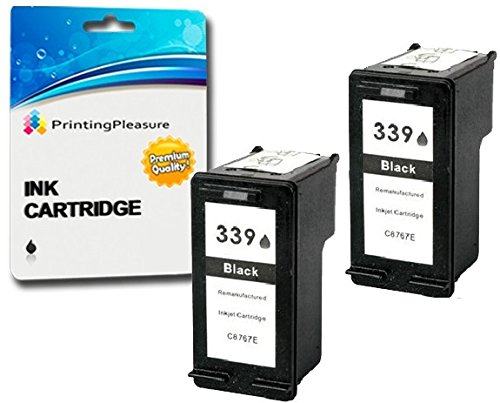 Printing Pleasure 2 SCHWARZ Druckerpatronen für HP Photosmart 2570 2573 2575 2605 2610 2710 8050 8150 8450 8750 DeskJet 5740 5940 5950 6540 6620 6840 6940 6980 9800 | kompatibel zu HP 339 (C8767EE) (8750 Photosmart Hp)