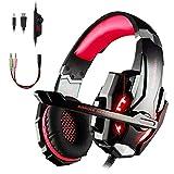 Tsing Auriculares Gaming Cascos PS4, Micrófono Control de Volumen LED Luz 3.5mm Jack, Reducción de ruido, PC/Xbox One/Nintendo Switch/Móvil/Tablet, Rojo(Tiene un adaptador)