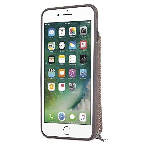 Großer Kapazitäts-Mappen-Beutel-Abdeckungs-Fall mit Reißverschluss Retro- ebene Beschaffenheit PU-lederne rückseitige Abdeckung für iPhone 7 ( Color : Red ) Gray