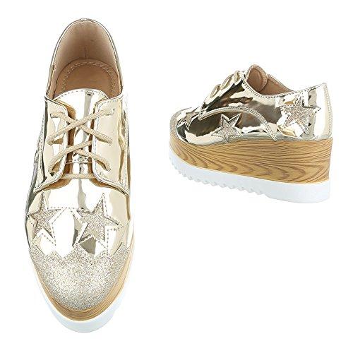Ital-Design , Chaussures à lacets femme Gold HH-90