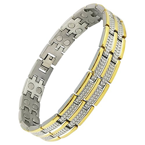 Magnaz Yellow Golden Titanium Plated Bio Magnetic Therapy Bracelet for men and women  available at amazon for Rs.1620
