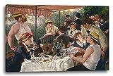 Pierre-Auguste Renoir - Le repas des rameurs, 80x60 cm, Impression sur toile encadrée sur cadre en bois véritable et prêt à accrocher, impression à haute qualité fabriqué en Allemagne.