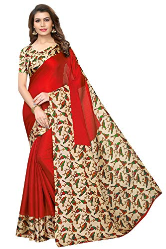 Indian Women's Art Silk Kalamkari and Bhagalpuri Style Sari with Blouse Piece Sparrow RED