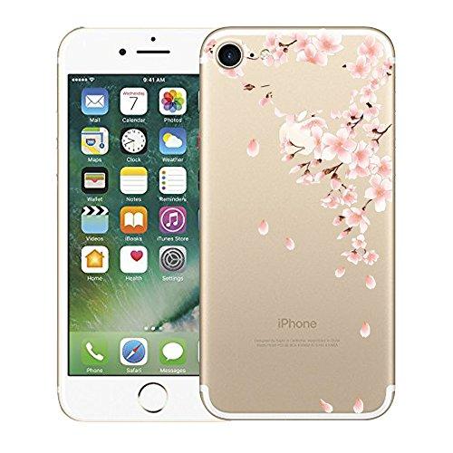 Qissy® TPU iPhone 7 4.7 inch Hülle, Transparent Weiche Silikon Schutzhülle mit Niedlich Muster für iPhone 7 Plum und Kirschblüten (iPhone 7, 14) 14