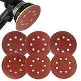 Coceca 60PCS 5 Inch Sanding Discs Pads Hook and Loop Sandpaper Assorted 60 80 120 180 240 320 Grits 8-Holes