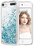 wlooo Funda para iPod Touch 5/6/7, Fundas iPod Touch 5, iPod Touch 6 Glitter liquida Gradiente Cristal Silicona Bling Protector TPU Bumper Case Brillante Arena movediza Carcasa (Azul)