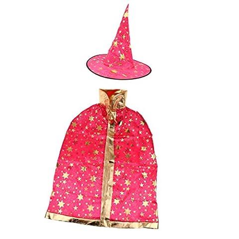 Halloween Costume De Costume Rouge - 2pcs Cape et Chapeau de Sorcière Robe