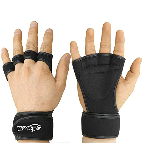 GYM-LEATHER-WEIGHT-LIFTING-PADDED-GLOVES-FITNESS-TRAINING-BODY-BUILDING-STRAPS-UK-Black-Medium