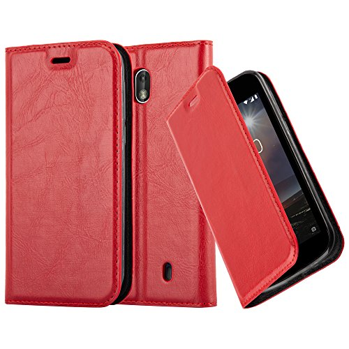 Cadorabo Hülle für Nokia 1-2017 - Hülle in Apfel ROT – Handyhülle mit Magnetverschluss, Standfunktion und Kartenfach - Case Cover Schutzhülle Etui Tasche Book Klapp Style