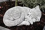 Steinfigur Katze schlafend, eingerollt, frostfest bis -30C, massiver Steinguss