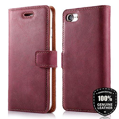"""Apple iPhone 6 / 6s (4.7"""") Premium Ledertasche Schutzhülle Wallet Case aus Nubukleder mit Kreditkarten / Notizen Fachern (Burgund) von Surazo® Vintage Kollektion Burgund"""
