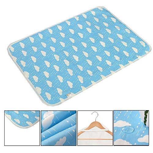 Letech® Wickelunterlage für Babys und Kleinkinder, wasserdicht, waschbar, wiederverwendbare Windel Matte (Regentropfen, L (60*75cm))