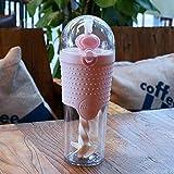 JIAOJIAN 500ml Kinder Plastik Wasserflasche Protein Shaker Mischflasche Fitness Portable Sport Meine Wasserflasche 6.5 * 22.1cm Pink 500ml