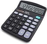 LA HAUTE Large Display Standard Desktop Calculator Economical Dual Solar/battery-powered Color Black