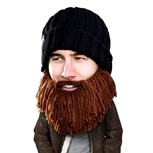 Beard Head Bartmütze - Barbar Vagabund - Lustige Strickmütze und falscher Bart Gesichtsmaske (Coole Männer Ideen Halloween-kostüm)