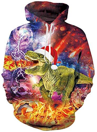 Rave on Friday Xmas Pullover Pullover Teenager Mädchen Frauen Dinosaurier Hoodie Coole Lustige Bedruckte Atmungsaktiv Hoody Slim Fit Sweatshirt XXL