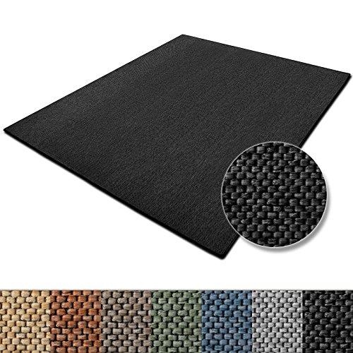casa pura Teppich Sabang | viele Farben und Größen | Flachgewebe, Sisaloptik | Qualitätsprodukt aus Deutschland | GUT Siegel | für Wohnzimmer, Kinderzimmer, Flur etc. (anthrazit, 140x200cm) -