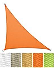 casa pura® Sonnensegel wasserabweisend imprägniert | Dreieck | UV Schutz | verschiedene Farben und Größen (orange, 3,6 x 3,6 x 5,1 m)