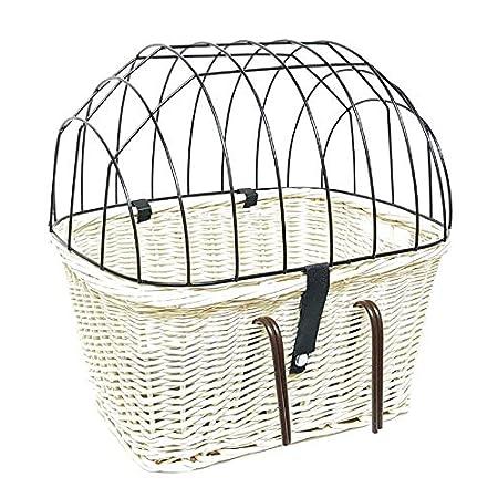 Tigana – Fahrradkorb aus Weide mit Gitter und Kissen für Lenker Weiß (Lenker 45 x 33 cm – (W-S))