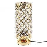 Kristall Tischlampe mit Metallrahmen 220V für Schlafzimmer Wohnzimmer Beleuchtung Dekoration(Typ B Gold)