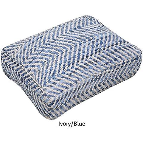 La República alfombra hecha a mano marfil/azul reciclado tela vaquera y tela Chenille Arena suelo almohada (60cm x 45cm x 15cm), 1pieza