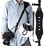 Correa para cámara Jungleland, Correa de Hombro de Neopreno con Correa de Seguridad y liberación rápida para cámara réflex Digital, Canon, Nikon, Sony, Color Negro