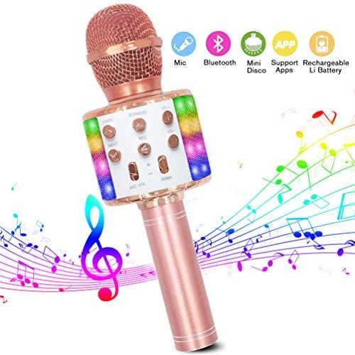 Karaoke Mikrofon, Bluetooth Mikrofon Karaoke Tragbarer 4-in-1Mikrofon mit LED-Tanzlichtern Kompatibel mit Android/PC und iOS Geräten für für Erwachsene und Kinder zu Hause KTV/Party