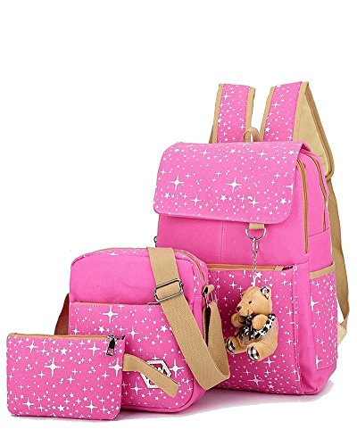 YiLianDa Tela Zaino Casual Scuola Zaini Donna Ragazza Canvas Backpack Zainetto 3 in 1 Rosa