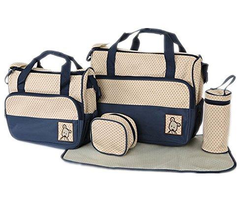 Fanessy Lot Tasche A Wickeltasche Komfort Bebe 5Pieces Cafe Tasche Außen + Tasche Innen + Lunchtasche und Tasche Fläschchen + Schicht Tasche Innen Außen dunkelblau