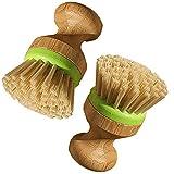 Juego de cepillo para lavar platos de redondo cepillo de madera vajilla utensilios de cocina Pot Pan Cepillo de limpieza 2 pcs