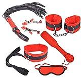 BONDAGERIE Kit Passion di sei pezzi, Realizzato in morbido Velluto Nero e Rosso