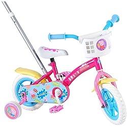 Vélo Enfant Fille 10 Pouces Peppa Pig avec Roues de Stabilisation Pédaler Avant et en Arrière Assemblé à 85% Rose