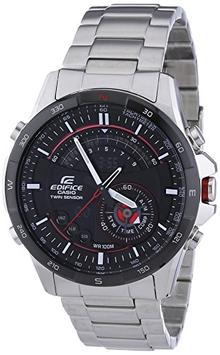 Casio - ERA-200DB-1A - Edifice - Montre Homme - Quartz Analogique - Digital - Cadran Noir - Bracelet Acier Gris