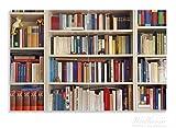 Wallario Herdabdeckplatte / Spritzschutz aus Glas, 2-teilig, 80x52cm, für Ceran- und Induktionsherde, Motiv Weißes Bücherregal mit unterschiedlichen Büchern