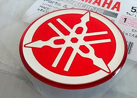YAMAHA TUNING Emblem Aufkleber Logo / ROT - CHROME / Mehr Größe zu wählen / BODY GEL Resin Selbstklebende Moto / Jet Ski / ATV / Snowmobile (18mm.)