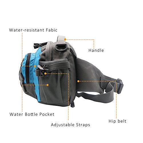 NatureFun wasserdichten Outdoor-Hüfttasche, Multifunktionsgürteltasche Daypack mit 2 Wasserflasche Taschen für Jogging Wandern Camping Radfahren Reisen Blau